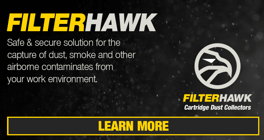 Filterhawk Cartridge Dust Collectors: Safe & secure solution for the capture of dust, smoke and other airborne contaminates from your work environment.