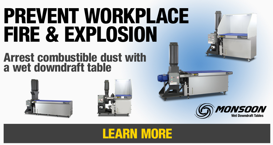 Diversitech's Monsoon Series of Wet Downdraft Tables allow for the safe capture and collection of explosive dusts and combustible powders like aluminum. Learn more.